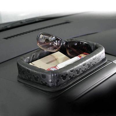 Disney Mickey Mouse Car Dashboard Storage Box  PU Tray Car Accessories Black (Disney Car Accessories)