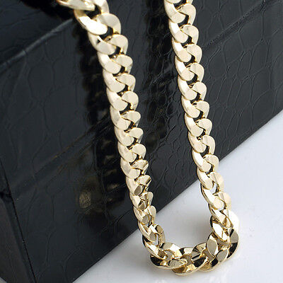 Купить Mens 14k Yellow Gold Plated 24in Italian Cuban Chain Necklace 10 MM