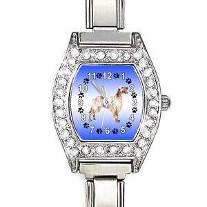 English-Setter-CZ-Lady-Stainless-Steel-Italian-Charms-Quartz-Wrist-Watch-BJ1137
