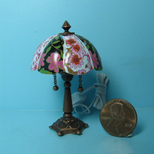 Dollhouse Miniature 12v Electric Tiffany Table Lamp with Bronze Base MH1067