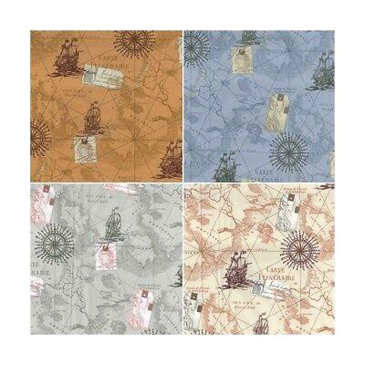 Ship Map - 100% Cotton Poplin Fabric Rose & Hubble Vintage Sea Ship Boat Navigation Map