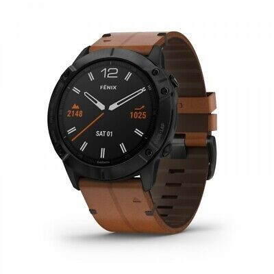Garmin fenix 6X Sapphire Black DLC with Chestnut Leather Band 010-02157-13