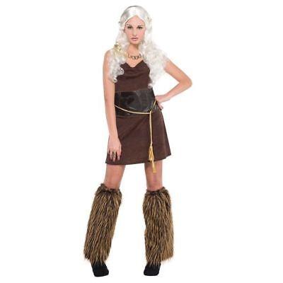 Ladies Viking Warrior Princess Costume Fancy Dress Medieval Barbarian Historical