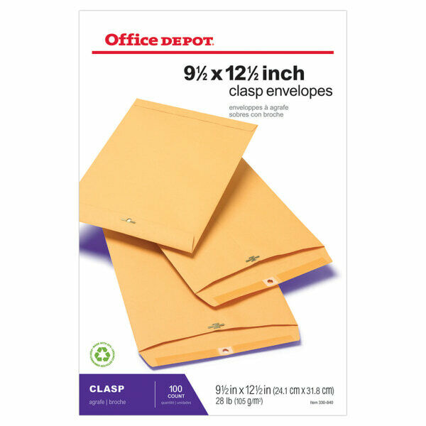 """Office Depot Brand Clasp Envelopes, 9 1/2"""" x 12 1/2"""", Brown, Box Of 100"""