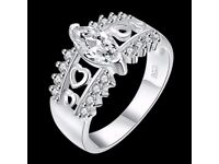 Rhinestones Heart Hollow Out Ring