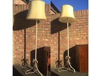 Vintage wrought iron standard floor lamp with shade