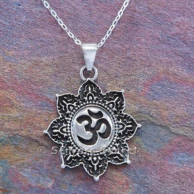Om Aum Hindu Yoga Charm Pendant 925 Sterling Silver 18  Necklace Lotus Flower