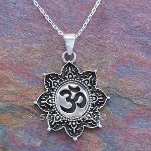 Om necklace Aum Hindu Yoga charm Lotus flower Pendant Sterling Silver 18