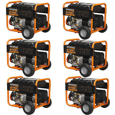 Generac Pallet Of 6 - 5943 - Gp7500e 7500 Watt Electric Start Portable Generator
