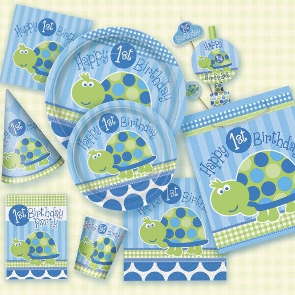 Turtle blue light-blue, 1 Birthday boy Kids, birthday party deco set