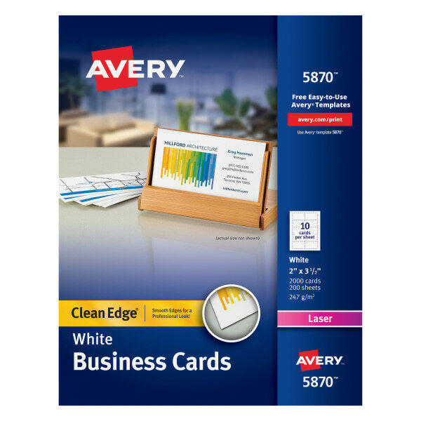 """Avery Laser Clean Edge 2-Side Printable Business Cards, 2"""" x 3 1/2"""", 2000-Pk"""