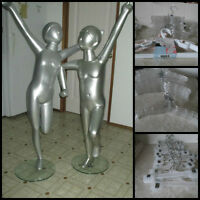 2 Unique Silver Child sized Mannequins on bases