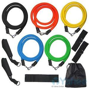 11 tlg Widerstandsbänder Expander Set Gymnastikband Set Fitnessbänder Yoga Latex