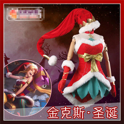 LOL jinx Christmas Dress snow festival Cosplay Costume Women halloween costume](Jinx Halloween Costumes)