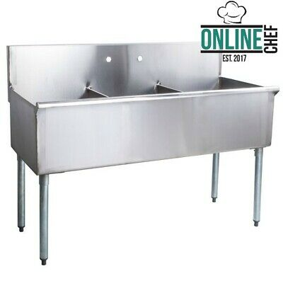 54 16 Gauge Stainless Steel 3 Compartments Commercial Utility Sink Freestanding