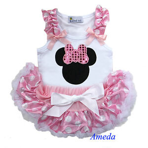 Newborn Baby Pink White Polka Dots Pettiskirt Minnie Mouse Head White Tank Top