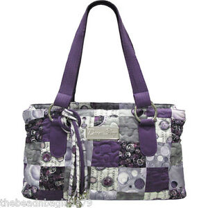 NEW DONNA SHARP CELESTIAL PATCH REESE BAG Purple Grey White HANDBAG
