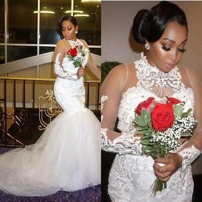 Women Bridal Dress Halter Illusion Neckline Mermaid Trumpet Wedding Gown 2019