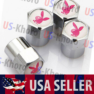 Playboy Bunny Logo Valves Stems Caps Covers Chromed PB Play Boy Tire Emblem USA - Playboy Bunny Accessories