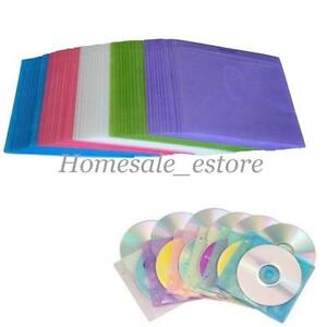 100Pcs DVD CD Double Sided Cover Storage Bag Plastic Case Sleeve Holder Package