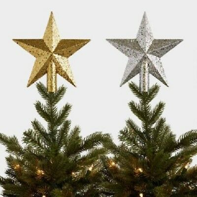 LARGE CHRISTMAS XMAS SILVER GOLD GLITTERY TREE TOPPER DECORATION LET IT SNOW