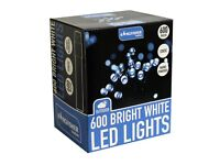 600 Static LED Christmas Lights (choice of 2 colour options - Bright White or Multi Coloured)