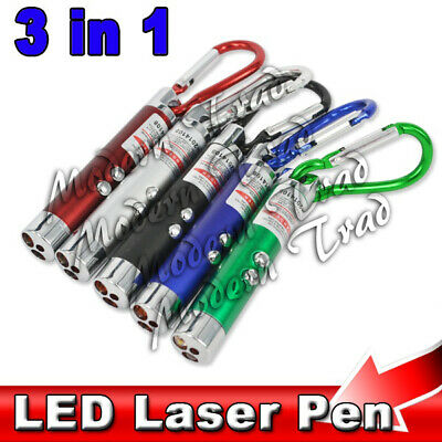 Laser Pen Mini 3 In1 Keychain Led Torch Red Lazer Pointer Cat Pet Toy