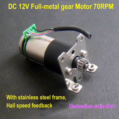 Dc 12v 70rpm High Torque Full Metal Gear Geared Dc Motor W Hall Speed Feedback