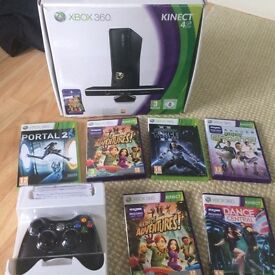 Xbox 360 with Kinect and games hardly used x2 controllers OPEN TO OFFERS