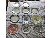 11 Mixed Vintage Dinner Plates