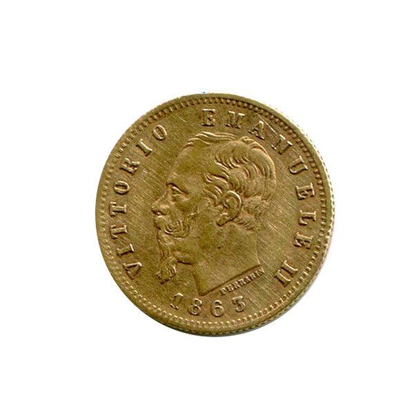 Italy 5 Lire Gold 1863 VF-XF