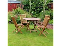 5 Piece Octagonal Teak Table With Folding Chair Garden Patio Furniture Set