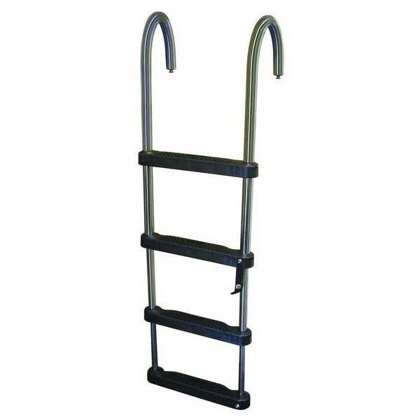4 Step Telescoping Removable Pontoon Folded Ladder Aluminum For Boat Marine
