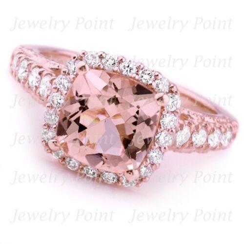 Cushion Peach Pink Morganite Diamond Halo Engagement Ring 14k Rose Gold Antique