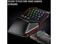Delux T9 Delux Professional One/Single Hand USB Wired Esport Gaming Keyboard LED