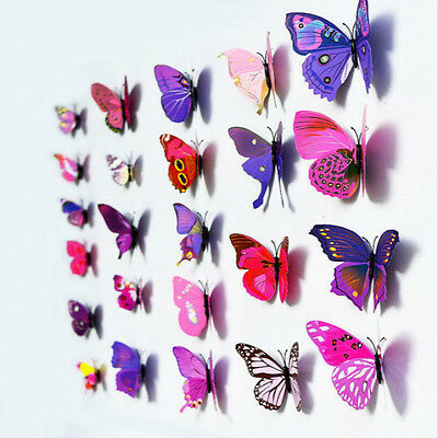 Home Decoration - 12pcs 3D Butterfly Sticker Art Wall Mural Door Decals Home Decor - PURPLE