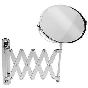 wall mounted chrome folding extending vanity bathroom magnifying shaving mirror ebay. Black Bedroom Furniture Sets. Home Design Ideas