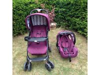 Travel System - oBaby plum - excellent condition - smoke/pet free home