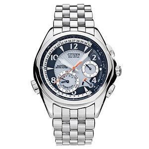 New Citizen Echo Drive Mens Watch Alarm S.Steel Perpetual Calendar BL9000-59F
