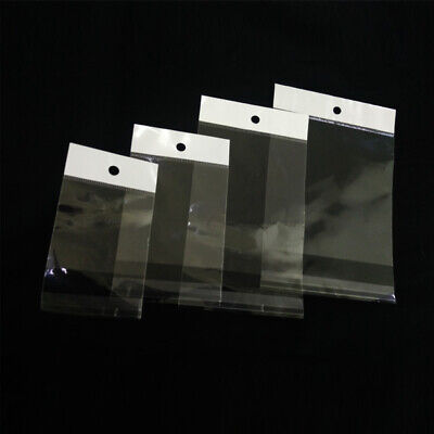 Opp Clear Plastic Self Seal Adhesive Packaging Bags Poly With Hang Hole 1.6 Mil