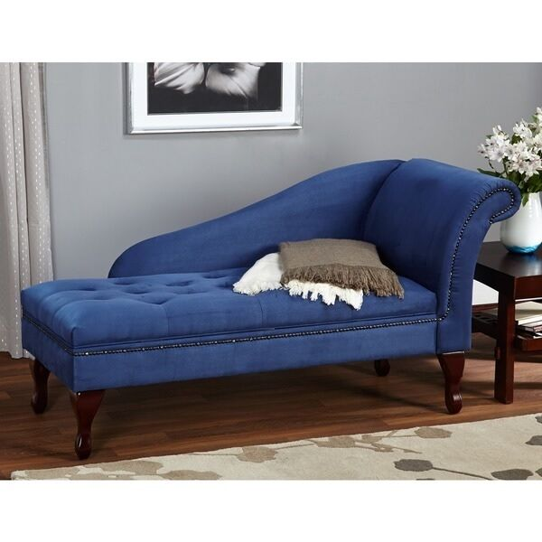 Blue Chaise Lounge Chair Tufted Microfiber Sofa Couch Loveseat W