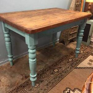 Vintage coastal home teal Oregon timber dining table Glebe Inner Sydney Preview