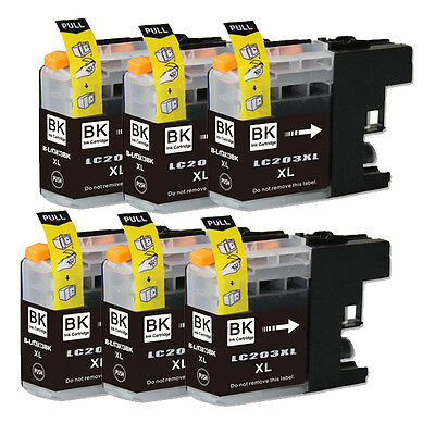 6 BLACK Printer Ink with chip for Brother LC201 LC203XL MFC
