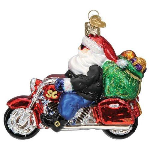 Old World Christmas BIKER SANTA (40313)N Glass Ornament w/Box