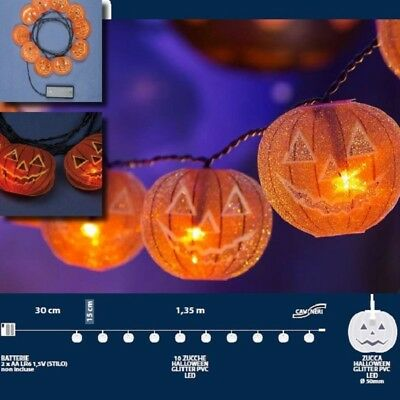 LED Halloween Lichterkette 10er Kürbis Batteriebetrieb innen (Orange Led-halloween-lichter)