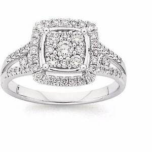 9K White Gold Diamond J/I1 1/2ct Halo Prouds Engagement Ring Ipswich Ipswich City Preview