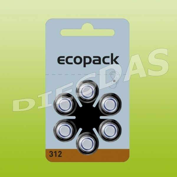 12 Pieces Varta Type 312 Ecopack Hearing Device Batteries 6 blisters PR41 1.4 V