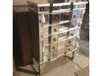 NEW 5 Drawer mirrored chest. Antique silver edged. Full range.