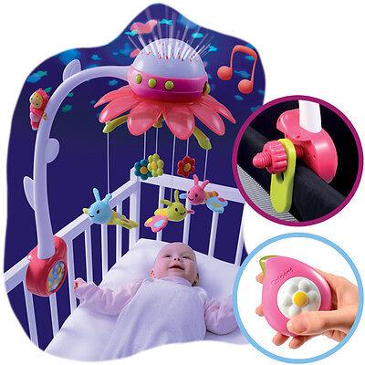 Smoby Cotoons Musik Mobile Flower mit Deckenprojektor Pink Schlafmusik Babybett