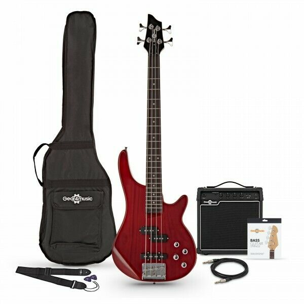 3/4 Chicago Bass Guitar + 15W Amp Pack Trans Red